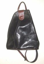 Unused L'ARTIGIANO BLACK LEATHER PURSE Sling BAG BACKPACK HANDBAG Made in ITALY