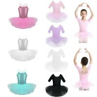 UK Toddler Girls Gymnastics Leotard Dress Kid Ballet Dance Tutu Skirt Dancewear