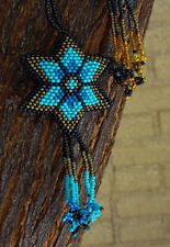 Star Christmas Ornament Black Blue Handmade Shooting