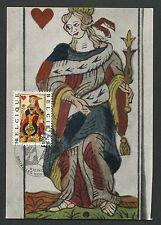 BELGIEN MK 1973 SPIELKARTEN HERZ-DAME MAXIMUMKARTE CARTE MAXIMUM CARD MC d6545