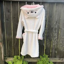 Oysho Girl's Size S 165cm Robe Thick Plush Ears Bear Hooded Ivory Pink Bathrobe