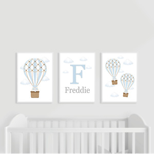 Hot Air Balloon Nursery Prints, Set of 3, Blue, Baby Boy, Personalised, Elephant