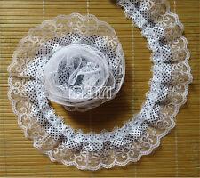 5m 2-layer Pleated Organza Lace Edge Trim Gathered Mesh Ribbon Sewing DIY Crafts