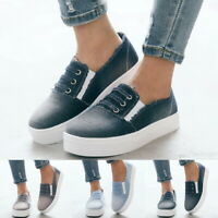 Lady's Denim Canvas Loafers Pumps Casual Slip On Flat Trainers Sneakers Shoes.