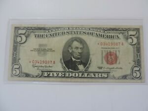 1963 ~ $5.00 Red Seal STAR Five Dollar United States Note