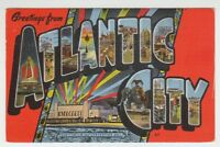 [67063] 1950 LARGE LETTER POSTCARD GREETINGS from ATLANTIC CITY, NEW JERSEY