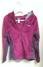PATAGONIA Women's Size L Fleece Jacket Raspberry Dark Pink Full Zip Hood Stretch