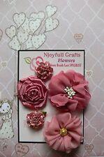 HANDMADE 5 Flower Mix DUSTY SALMON PINK Organza Satin 30, 50&60mm NjoyfullCrafts