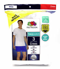 3 White Tall Man LT 42-44 Inch Fruit Of The Loom Crew Neck T-Shirts 107-112 CM