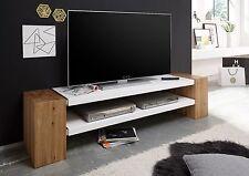 Jane TV Media Element II, weiß, Asteiche massiv, TV Schrank, Fernsehschrank