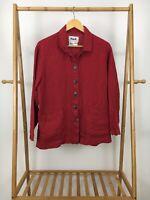 FLAX Women's 100% Linen Lagenlook Boho Button Front Pockets Tunic Shirt Size S