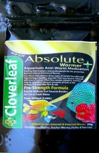 NEW 20g SIZE Absolute Wormer Plus + Fluke Fish & Discus 2,000 UK gal (9,080 ltr)