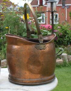 Large Copper & Brass Fireside Helmet Coal Scuttle Log Bucket