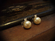 Vintage Perla y Cristal Perforado Pendientes con Pasador