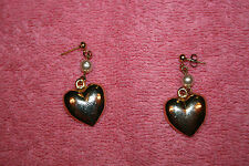Vintage Heavy Gold Tone Heart and Pearly Bead Dangle Earrings