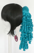 18'' Ringlet Curly Pony Tail Clip Peacock Blue Cosplay Lolita Wig Clip Only NEW