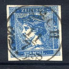 Austria 1851 BLU MERCURIO (0,6 KR.) etichetta giornale, USATO. Michel 6