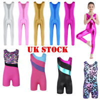 UK Kid Girl Gymnastics Ballet Dance Leotards Glossy Athletic Sleeveless Jumpsuit