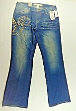 Ecko Red Womens  Blue Denim Boot Cut Jeans  Gold Design Artsy Boho Size 11 New