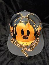 New listing New Disney Parks USA DJ Hip Hop Mickey Mouse Earphones Baseball Cap Grey Orange