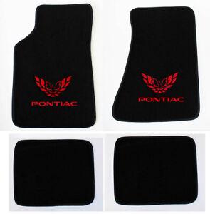NEW! Carpet Floor Mats 1982 - 2002 PONTIAC & FIREBIRD Embroidered Logo Red set 4