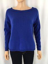 Eileen Fisher S Royal Blue Merino Wool Boat Neck Roll Hem Sweater
