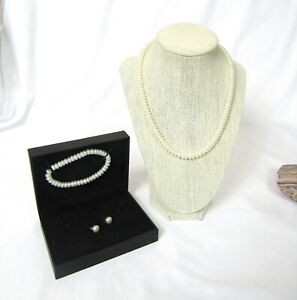 estate, Honora 3 piece cultured pearl set in original box necklace, bracelet, ea