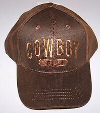 COWBOY TOUGH OILSKIN  BALL CAP *  BROWN HAT