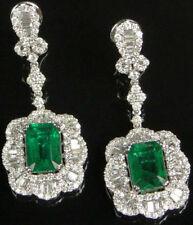 Solid 925 Sterling Silver Green Emerald Baguette Wedding Dangle Earrings Cz Gift