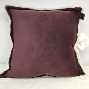 UGG Australia Oversized Pillow Throw Sofa Bed 20 x 20 Maroon Smooth Sherpa NEW