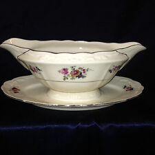 ESCHENBACH BAVARIA A2074 GRAVY BOAT & UNDER PLATE 16 OZ FLORAL CREAM GOLD TRIM