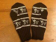 Vintage Wool Knit Mittens 60s 70s Retro Winter Ski Snowboard Hand Made