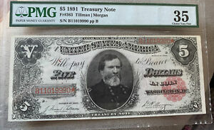 1891 $5 Treasury Note - FR-363 - Graded PMG 35 CHOICE Very Fine
