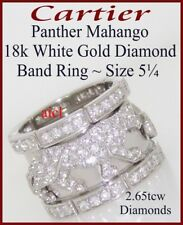 CARTIER PANTHER MAHANGO 18k WHITE GOLD DIAMOND BAND RING ~ 2.65tcw ~SIZE 5¼(50)