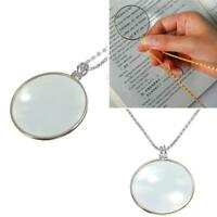 5x Magnifier Round Reading Magnifying Glass Lens Pendant Chain Necklace  Fashion