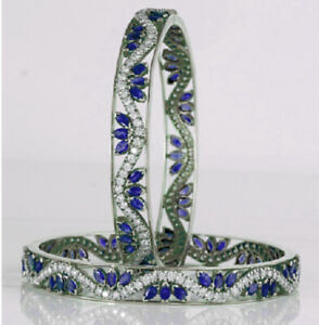 KADA STYLE BLUE SAPPHIRE  MARQUISE BROAD BANGLE PAIR WITH 92.5 STERLING SILVER