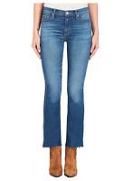 BLACK ORCHID Bardot Straight Fray Slit Hem Cutoff Skinny Jeans Blue 26 $202 #656