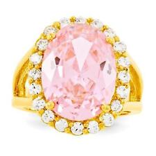 NEW JBK JACQUELINE BOUVIER KENNEDY SIMULATED PINK KUNZITE RING SZ 7 GOLD PLATED