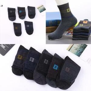 5 Pairs Mens Thick Thermal Wool Cashmere Casual Sports Socks Warmer Winter N6L5
