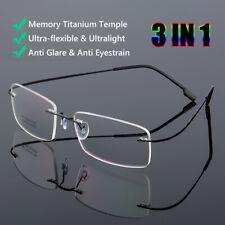 Flexible Reading Glasses Ultralight Rimless Memory Titanium Eyeglasses Unisex