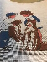 Vintage Boy and Girl with Dogs  needlepoint Hand painted canvas  18 X 18