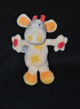 Peluche doudou vache girafe BABYSUN beige jaune orange rouge 17 cm cocard NEUF