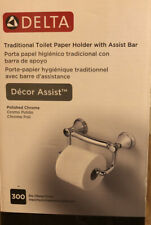 Delta Decor Assist Traditional Toilet Paper Holder with Assist Bar in Chrome