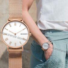 NWT 🌺 Skagen SKW2714 Hald Rose Gold Mesh Stainless Steel Bracelet 34mm Watch