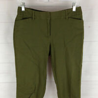 Liz Claiborne womens size 4P stretch green flat front mid rise tapered pants EUC