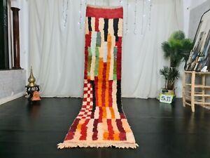 Moroccan Vintage Handmade Boujad Runner 2.4x10.9ft Orange Tribal Berber Wool Rug