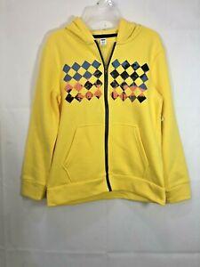 Old Navy Boys Yellow Graphic Argyle/Diamond W/ Palm Trees Zip Up Hoodie Jacket