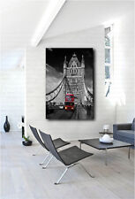 Red London Bus Driving Across Tower Bridge Canvas Poster Art Print Wall Decor