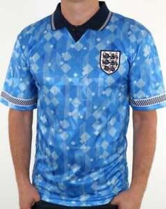 England 1990 World Cup Third Shirt in Blue - retro football replica, Italia 90