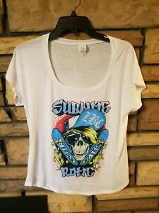 Sublime with Rome shirt MEDIUM Beach Lounge Shirt 2013 Tour Skateboard Skull NEW